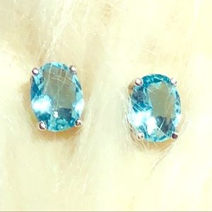 Jewelry - Aquamarine Sterling Silver Stud Earrings